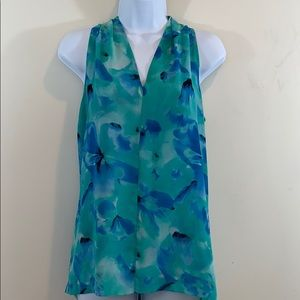 Vince Camuto Sleeveless Floral V-Neck Shirt  Sz S